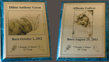 engraved baby plaque