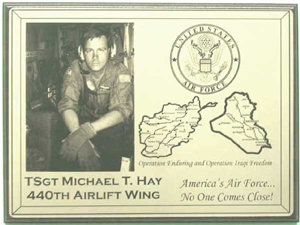 military gifts laser engraved plaque