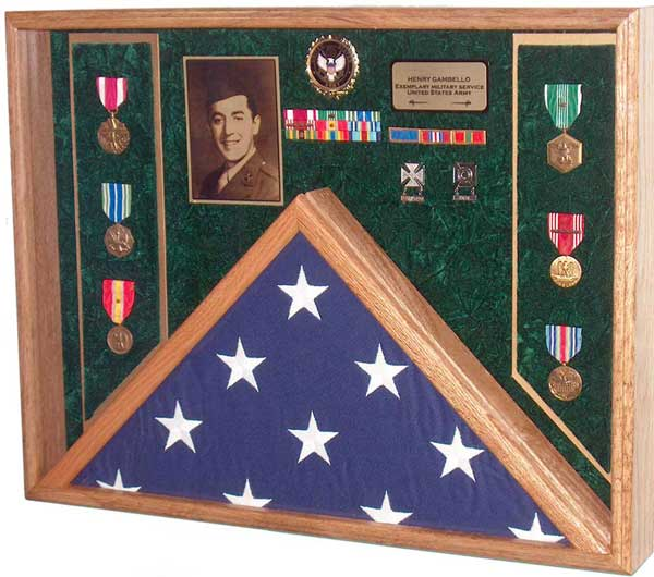 Army Combination Flag and Medals Case